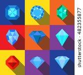 diamond flat icons set elements ...