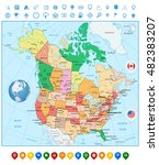 usa and canada large detailed... | Shutterstock .eps vector #482383207