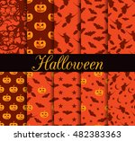 ten halloween seamless patterns.... | Shutterstock .eps vector #482383363
