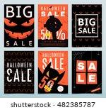 set of posters for halloween... | Shutterstock .eps vector #482385787