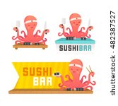 set sushi banners  labels  logo....