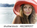 beautiful girl in a red hat... | Shutterstock . vector #482389057