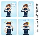 set of ninja characters posing... | Shutterstock .eps vector #482402797