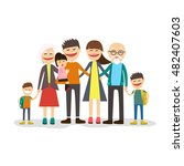 cartoon family portrait. big... | Shutterstock .eps vector #482407603