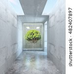 Abstract Concrete Room With...