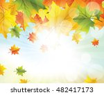autumn  frame with falling ... | Shutterstock .eps vector #482417173