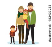 happy family in winter clothes | Shutterstock .eps vector #482433283