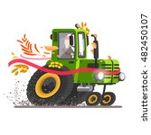 vector tractor. agricultural... | Shutterstock .eps vector #482450107