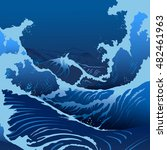 blue waves in the japanese style | Shutterstock .eps vector #482461963