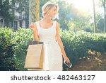 beautiful woman in a white... | Shutterstock . vector #482463127