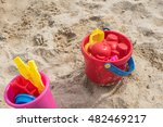 colorful sand beach toy set for ... | Shutterstock . vector #482469217