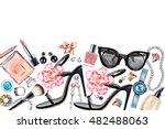 border of various watercolor... | Shutterstock . vector #482488063