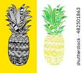 hand drawn vector pineapple.... | Shutterstock .eps vector #482501863