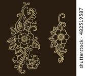set of mehndi flower pattern... | Shutterstock .eps vector #482519587