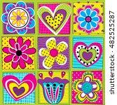 vector seamless geometric cute... | Shutterstock .eps vector #482525287