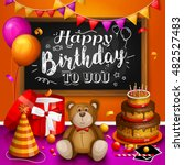 happy birthday greeting card.... | Shutterstock .eps vector #482527483