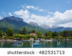 Annecy Town With Sailboat In...