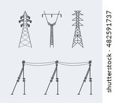 high voltage electric line...   Shutterstock .eps vector #482591737