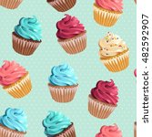 seamless cupcakes and polka dot | Shutterstock .eps vector #482592907