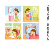daily routines for kids | Shutterstock .eps vector #482603857
