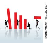 business team and red graph | Shutterstock .eps vector #482607157