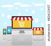 set of shopping online web and... | Shutterstock .eps vector #482612437