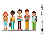 multi ethnic group of school... | Shutterstock .eps vector #482617003