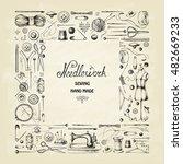 set of needlework   scissors ... | Shutterstock .eps vector #482669233