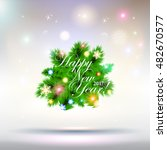 2017 happy new year tree...   Shutterstock . vector #482670577