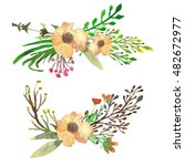 watercolor floral wreaths for... | Shutterstock . vector #482672977