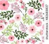 pink garden flowers  berries... | Shutterstock .eps vector #482683837