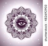detailed hand drawn mandala... | Shutterstock .eps vector #482692903