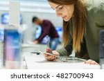 close up of a girl in a tech... | Shutterstock . vector #482700943