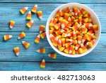 Halloween Candy Corns In Bowl...