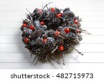 Painted Larch Cones And Red...