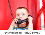 surprised kid in a red... | Shutterstock . vector #482719963