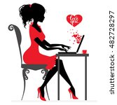 beautiful girl writes or... | Shutterstock .eps vector #482728297