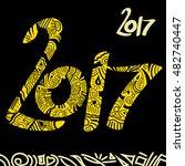 New Year 2017 Hand Drawn Yello...