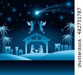 silhouette manger merry... | Shutterstock .eps vector #482751787