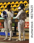 Small photo of TURIN - FEB 7: Women Foil World Cup, Usa fencers PRESCOD Nzingha and SINGH Ambika during team tournament on February 7, 2010 in Turin, Italy.