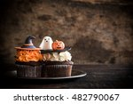 funny cup cakes as halloween... | Shutterstock . vector #482790067