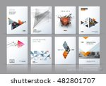 Brochure template layout, cover design annual report, magazine, flyer in A4 with grey yellow polygonal triangles, 3d mesh polygons, rounds, lines, explosion for business and sale shopping. Vector set. | Shutterstock vector #482801707