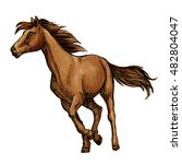 running horse sketch with... | Shutterstock .eps vector #482804047