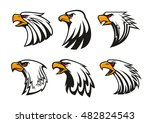 bald eagle icons set. vector... | Shutterstock .eps vector #482824543