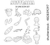 outline australia icons set....
