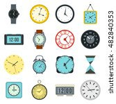 flat clock icons set. universal ...