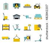 flat logistic icons set....