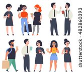 set of stylish flat characters. ... | Shutterstock .eps vector #482860393