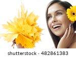 closeup portrait of attractive  ... | Shutterstock . vector #482861383