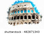 the colosseum  an important... | Shutterstock . vector #482871343